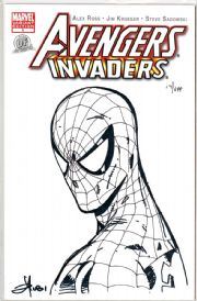 Avengers Invaders #1 Dynamic Forces Authentix Variant Signed Mel Rubi Remarked Spider-man Sketch DF